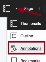 Image of Bb Annotate sidebar menu